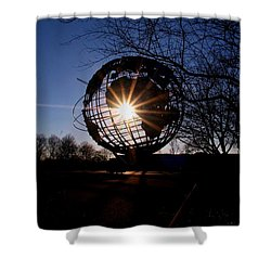Sunset Through The Unisphere Shower Curtain