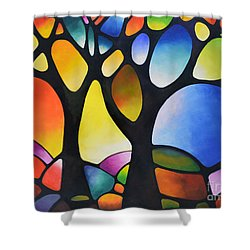 Sunset Trees Shower Curtain by Sally Trace