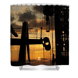 Sunset Viewed From An Oil Rig Shower Curtain