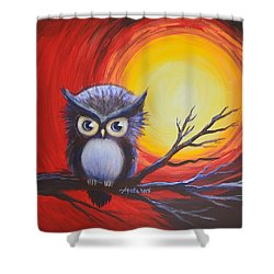 Sunset Vortex With Owl Shower Curtain