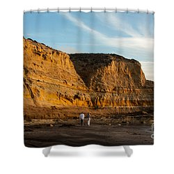Sunset Walk At Flat Rock  La Jolla California Shower Curtain