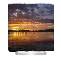 Sunset With Clouds Over Malibu Beach Lagoon Estuary Shower Curtain