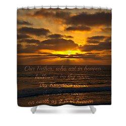 Sunset With Prayer Shower Curtain by Sharon Soberon