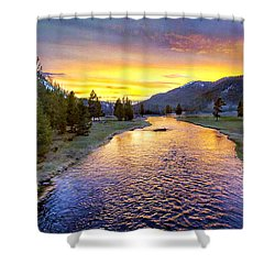 Sunset Yellowstone National Park Madison River Shower Curtain