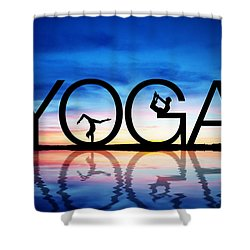 Sunset Yoga Shower Curtain by Aged Pixel