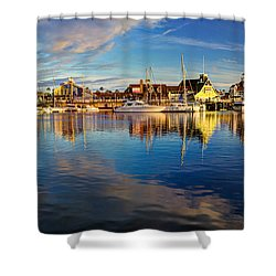 Sunset's Golden Light Shower Curtain by Heidi Smith
