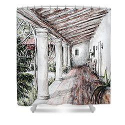 Sunshine On Portico Shower Curtain by Danuta Bennett
