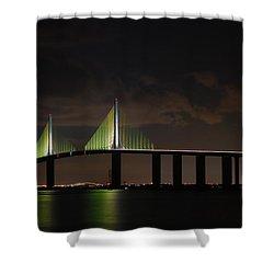 Sunshine Skyway Bridge Shower Curtain by Beverly Stapleton