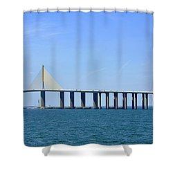 Sunshine Skyway Bridge II Tampa Bay Florida Usa Shower Curtain by Sally Rockefeller