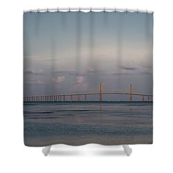 Shower Curtain featuring the photograph Sunshine Skyway Bridge by Steven Sparks