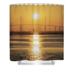 Shower Curtain featuring the photograph Sunshine Skyway Bridge Sunrise by Steven Sparks