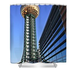 Sunsphere And Conference Center Shower Curtain by Melinda Fawver