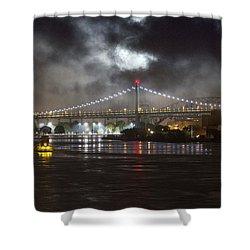 Super Moon And Triboro Bridge Shower Curtain