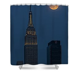Super Moon By The Empire State Building Nyc Shower Curtain