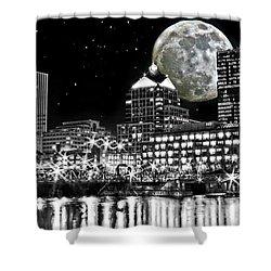 Super Moon Over Rochester Shower Curtain by Richard Engelbrecht