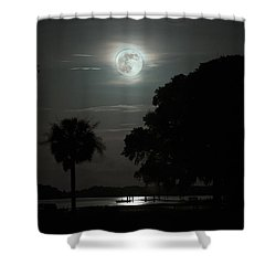 Super Moon Over Wimbee Creek Shower Curtain