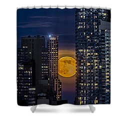 Super Moon Rises Over The Big Apple Shower Curtain by Susan Candelario