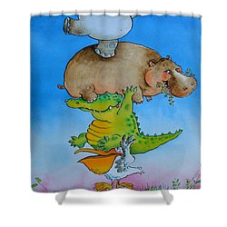 Super Mouse Pen & Ink And Wc On Paper Shower Curtain by Maylee Christie