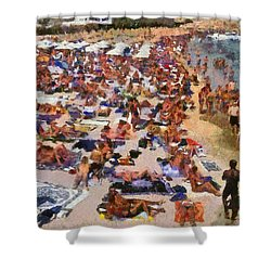 Super Paradise Beach In Mykonos Island Shower Curtain by George Atsametakis