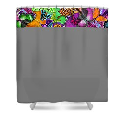 Super Rainbow Butterflies Shower Curtain by Alixandra Mullins