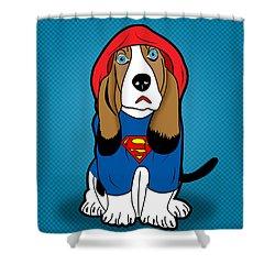Superman Dog  Shower Curtain by Mark Ashkenazi