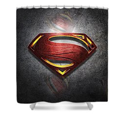 Superman Man Of Steel Digital Artwork Shower Curtain