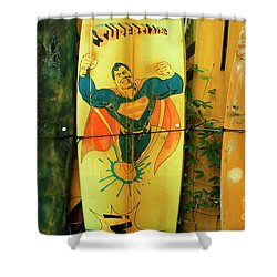 superman surfboard shower curtain by bob christopher
