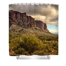 Superstition Mountains  Shower Curtain by Saija  Lehtonen