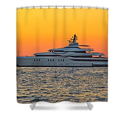 Superyacht On Yellow Sunset View Shower Curtain