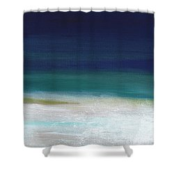 Surf And Sky- Abstract Beach Painting Shower Curtain by Linda Woods