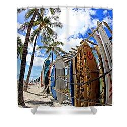 Surf And Sun Waikiki Shower Curtain by DJ Florek