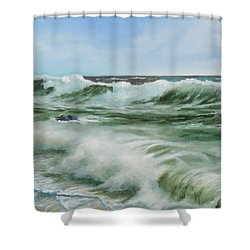 Shower Curtain featuring the painting Surf At Castlerock by Barry Williamson