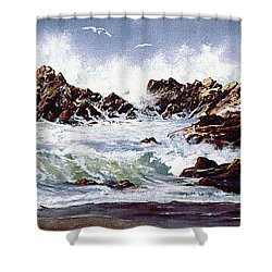 Surf At Lincoln City Shower Curtain by Craig T Burgwardt