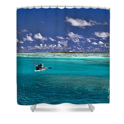 Surf Board Paddling In Moorea Shower Curtain by David Smith