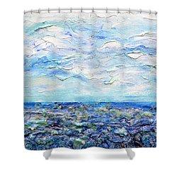 Surf Study Shower Curtain by Regina Valluzzi