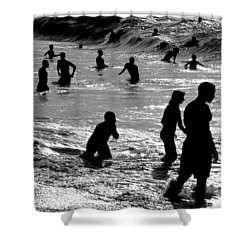 Surf Swimmers Shower Curtain by Sean Davey