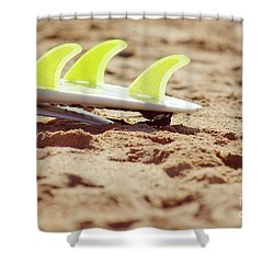 Surfboard Fins Shower Curtain by Carlos Caetano
