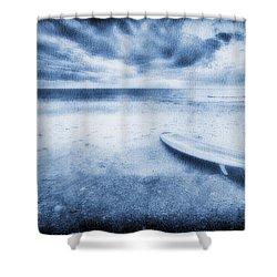Surfboard On The Beach Shower Curtain by Skip Nall