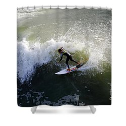 Surfer Boy Riding A Wave Shower Curtain by Catherine Sherman