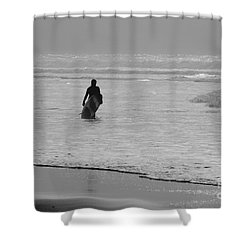 Surfer In The Mist Shower Curtain by Terri Waters
