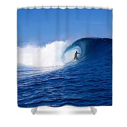 Surfer In The Sea, Tahiti, French Shower Curtain
