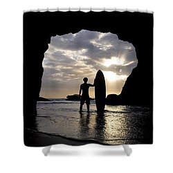 Surfer Inside A Cave At Muriwai New Shower Curtain by Deddeda