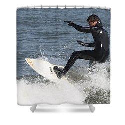 Surfer On White Water Shower Curtain by John Telfer