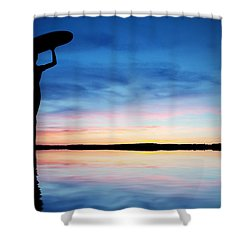 Surfer Silhouette Shower Curtain by Aged Pixel