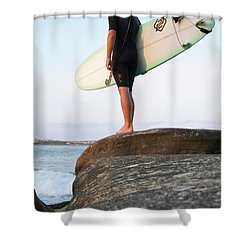 Surfer With Board Watches Ocean Shower Curtain