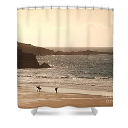 Surfers On Beach 03 Shower Curtain by Pixel Chimp