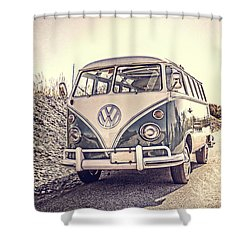 Surfer's Vintage Vw Samba Bus At The Beach Shower Curtain by Edward Fielding