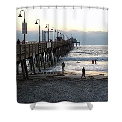 Surfing At Dusk Shower Curtain