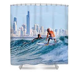 Surfing Burleigh Shower Curtain