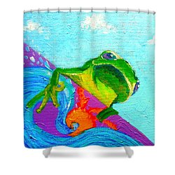 Surfing Froggie Shower Curtain